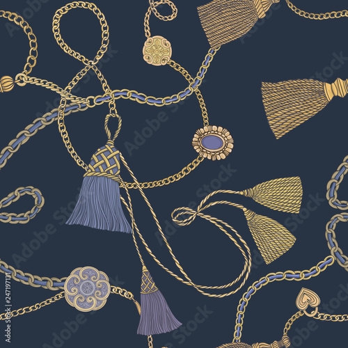 Print with gold chains and tassels Fototapeta