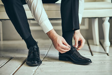 Businessman Clothes Shoes, Man Getting Ready For Work,groom Morning Before Wedding Ceremony. Men Fashion