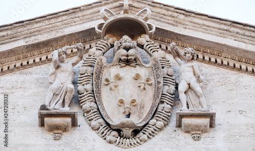Coat-of-arms of France on the facade of Chiesa di San Luigi dei Francesi - Churc Tableau sur Toile