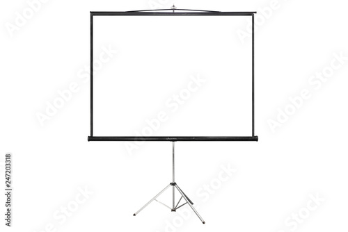 Photo isloated projector screen with blank copy spacei on white background