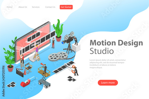 Isometric flat vector landing page template of motion design studio, video editor app, creating video online.