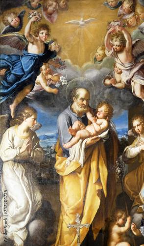 Slika na platnu St Joseph with baby Jesus altarpiece by Francesco Cozza in Chapel Chapel of St J