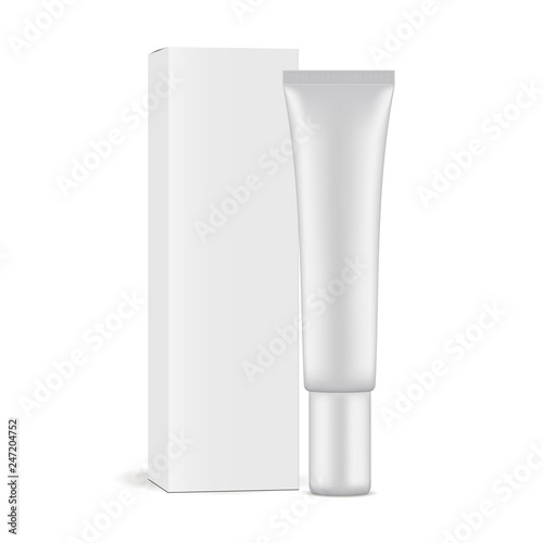 Foto Plastic cosmetic tube with paper box mockup isolated on white background
