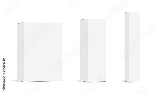 Set of paper rectangular packaging boxes mockups isolated on white background Fototapeta