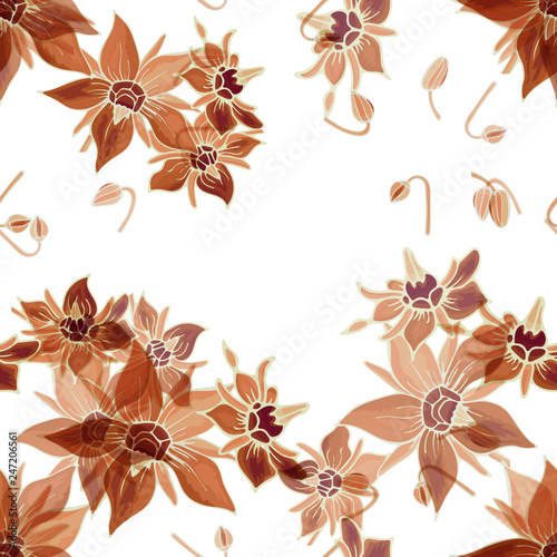 Fotografia  Abstract floral seamless pattern with composition from brown flowers and buds borage on white background