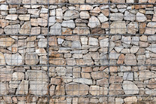 Retaining Wall Gabion Baskets, Gabion Wall Caged Stones Textured Background