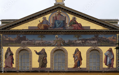 Photo  Mosaic of Jesus Christ the Teacher, Saints Peter and Paul and prophets Isaiah, J