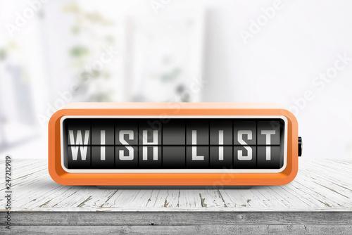 Photographie  Wish list written on a retro alarm device