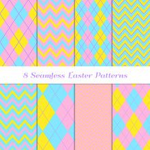 Easter Argyle And Chevron Zigzag Stripes Vector Patterns. Cute Pastel Rainbow Backgrounds In Blue, Pink, Yellow And Lilac. Repeting Pattern Tile Swatches Included.