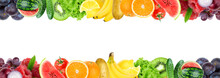 Collage Of Mixed Fruit And Vegetable. Fresh Color Fruits And Vegetables