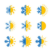 Hot And Cold Symbol. Sun And Snowflake Set Of Suns And Snowflakes