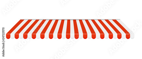 Fotografia Outdoor awnings Red and white sunshade. Vector Illustration
