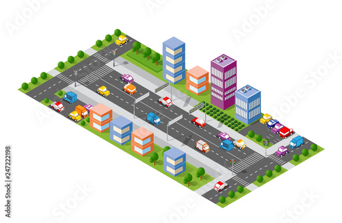 City boulevard isometric Canvas Print