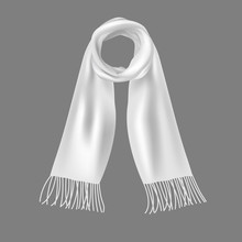 Realistic 3d Detailed Soft White Scarf. Vector