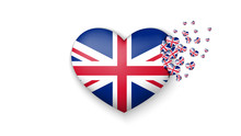 National Flag Of UK In Heart Illustration. With Love To UK Country. The National Flag Of UK Fly Out Small Hearts On White Background