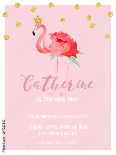 Fototapeta Baby Birthday Invitation Card With Illustration Of Beautiful Flamingo And Golden Glitter Dots Arrival Announcement Greetings In Vector