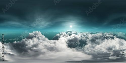 Fototapeta HDRI, environment map , Round panorama, spherical panorama, equidistant projection, panorama 360, Beautiful clouds, panorama of clouds obraz