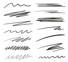 Backgrounds With Array Of Lines. Stroke Chaotic Backdrops. Hand Drawn Patterns. Black And White Illustration. Elements For Posters And Flyers