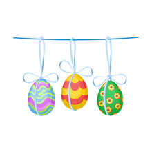 Ornate Easter Eggs With Bows Hanging On Rope. Decor For Holiday Celebration. Flat Vector Design