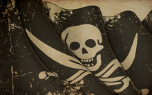 Old Paper Print - Waving Jolly Roger Of Calico Jack