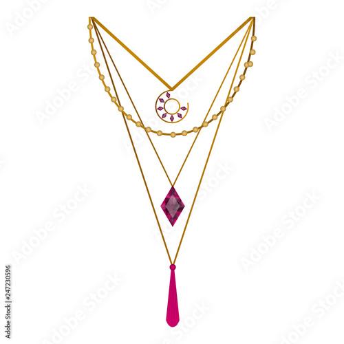 Slika na platnu Isolated beauty necklace image. Vector illustration design