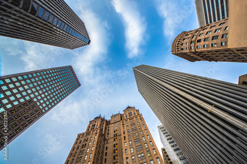 Photo  Highrises in San Francisco's Financial District, look up view