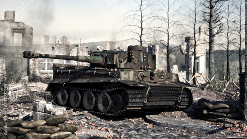 Fotografía Vintage German World War 2 armored heavy combat tank poised on the battlefield