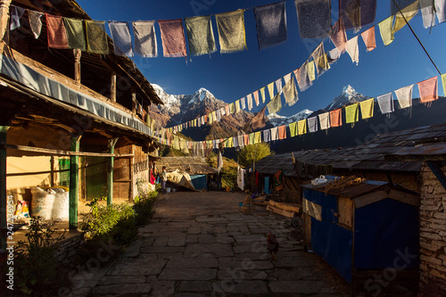 Beautiful yard of the traditional house of Ghandruk village during trekking in Himalaya Mountains, Nepal Canvas Print