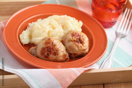 Chicken galantines with mashed potato
