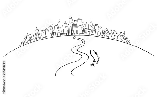 Artistic drawing of conceptual road or way winding forward leading to cityscape or big city on the horizon. Business concept.
