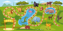 Zoo Board Game With Numbers Fo...