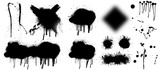 Fototapeta Młodzieżowe - Spray graffiti stencil template. Isolated collection. Black splashes isolated on transparent background. Vector set Spray