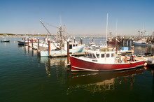 Fishing Boats Moored In The Port Of Provincetown, Massachusetts.