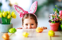 Happy Easter! Funny Child Girl...