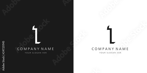 1 logo numbers modern black and white design