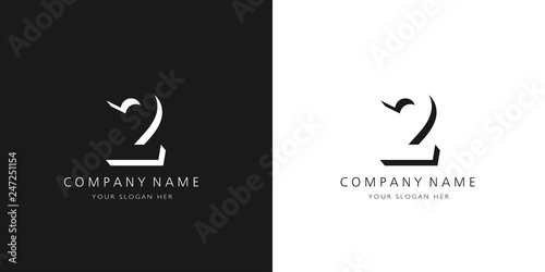 2 logo numbers modern black and white design