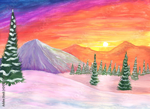 Winter landscape at sunset in gouache. Fir trees and snowy mountains