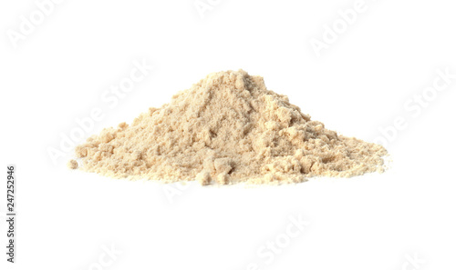 Pile of sesame flour isolated on white