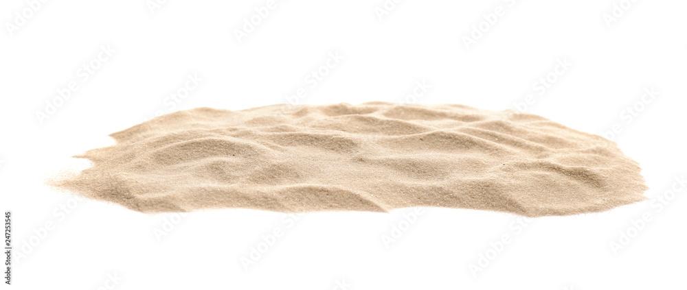 Fototapety, obrazy: Heap of dry beach sand on white background