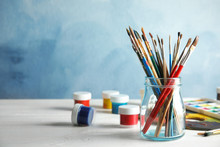 Glass Jar With Brushes And Pai...