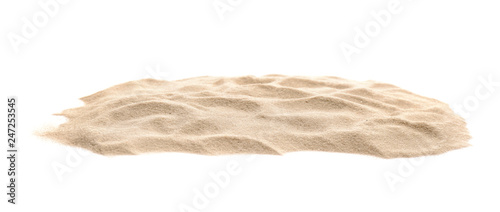 Photo Heap of dry beach sand on white background