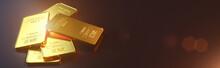 Gold Bar Close Up Shot. Wealth...