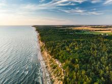 Aerial View Of The Baltic Sea Shore Line Near Klaipeda City, Lithuania.
