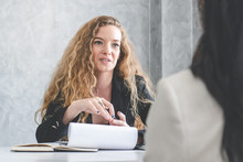Friendly Business Woman Interviewing New Applicant Candidate For Marketing Team Staff For Her Team In The Meeting Room.
