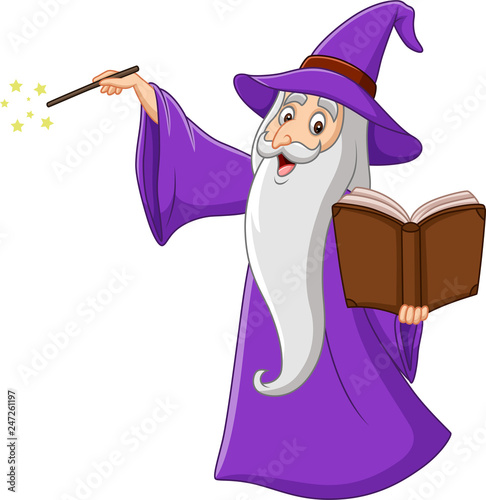 Obraz na plátne Cartoon old wizard holding a magic book