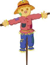Cartoon Scarecrow Isolated On White Background