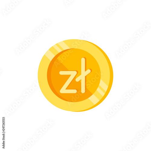 Fotografía  Zloty, coin, money color icon