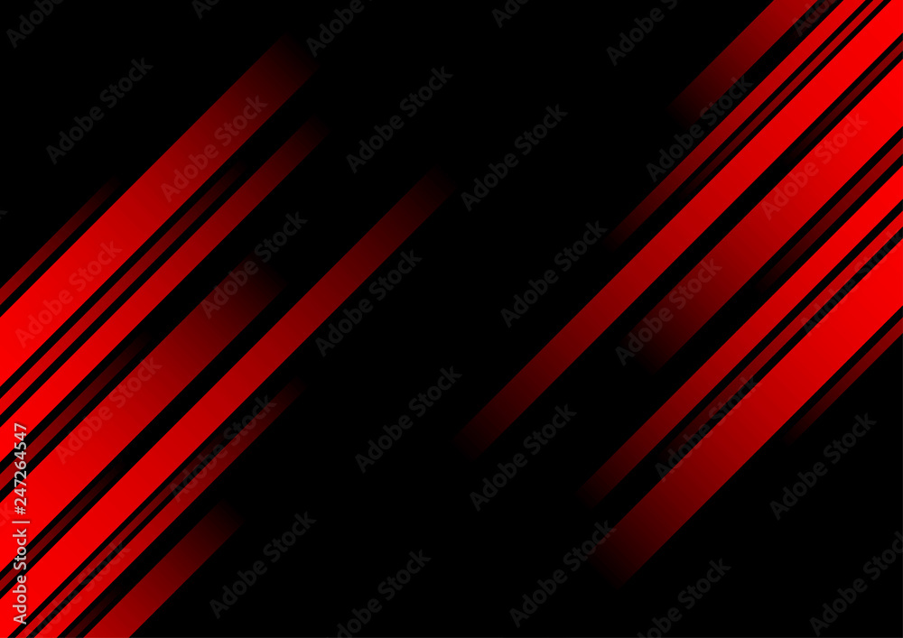 Fototapety, obrazy: Abstract red line and black background for business card, cover, banner, flyer. Vector illustration