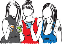 Women At Party With Drinks Vector Illustration