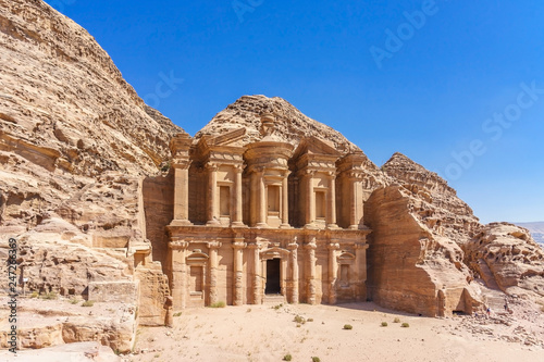 Foto op Plexiglas Historisch geb. Famous facade of Ad Deir in ancient city Petra, Jordan. Monastery in ancient city of Petra. The temple of Al Khazneh in Petra is one of UNESCO World Heritage Sites and one of the world wonders